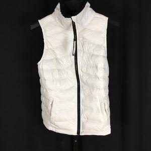 Calvin Klein Off White Down Vest Puffer Knit Small